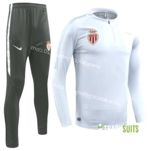 2018-2019 Monaco White Thailand Soccer Tracksuit Uniform-GDP
